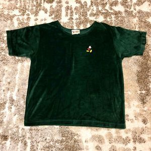 Disney World Vintage Velvet Green Mickey Top Large
